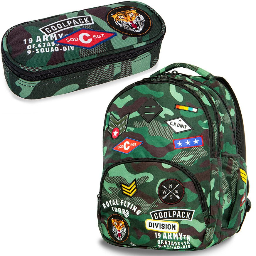 15b3e78ca315d Set Coolpack Camo Green Badges - Bentley backpack and Campus pencil case  Click to zoom ...
