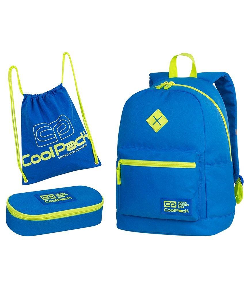 4bd344ead2a5a Zestaw szkolny Coolpack 2018 Neon Blue - plecak Cross, piórnik ...