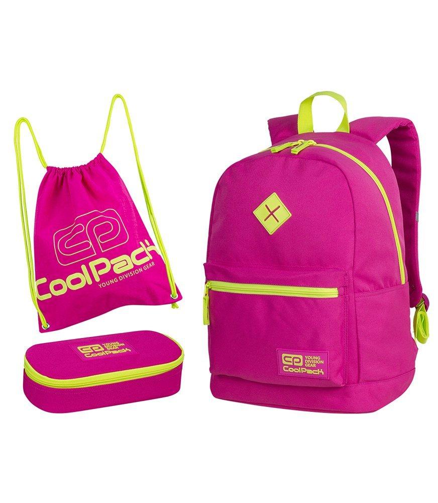 53f3d76f1f30b Zestaw szkolny Coolpack 2018 Neon Pink - plecak Cross, piórnik ...