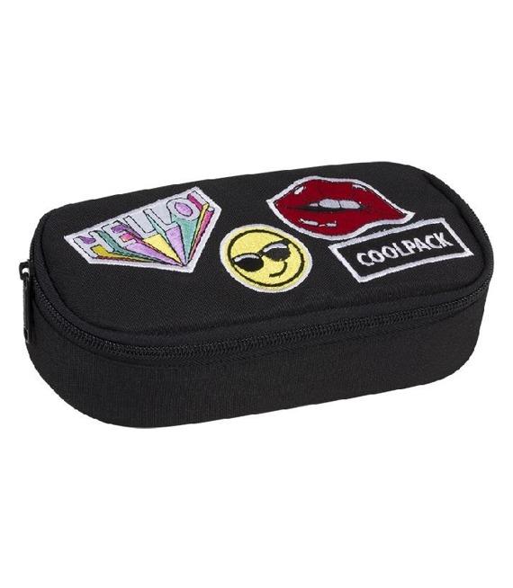 a5731d4479366 Pencil case Coolpack Campus Badges Girls Black 93927CP - Piórniki ...