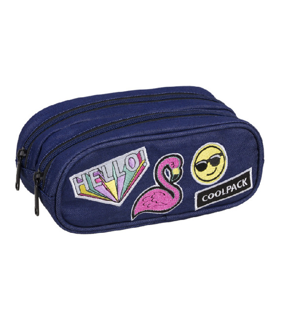 Piórnik szkolny Coolpack Clever Badges Girls Denim 93767CP