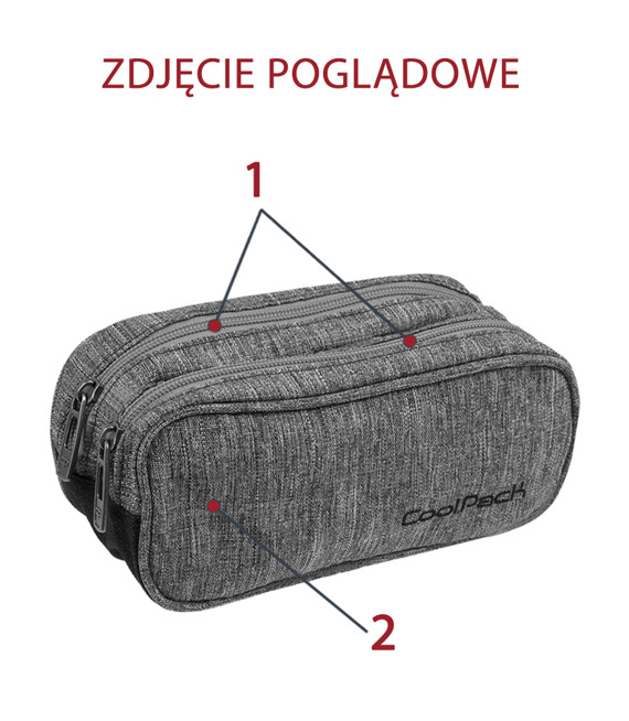 Piórnik szkolny Coolpack Clever Grey shadow 48286CP nr 195