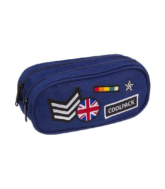Piórnik szkolny dwukomorowy Coolpack Clever Badges Navy 89678CP nr A411