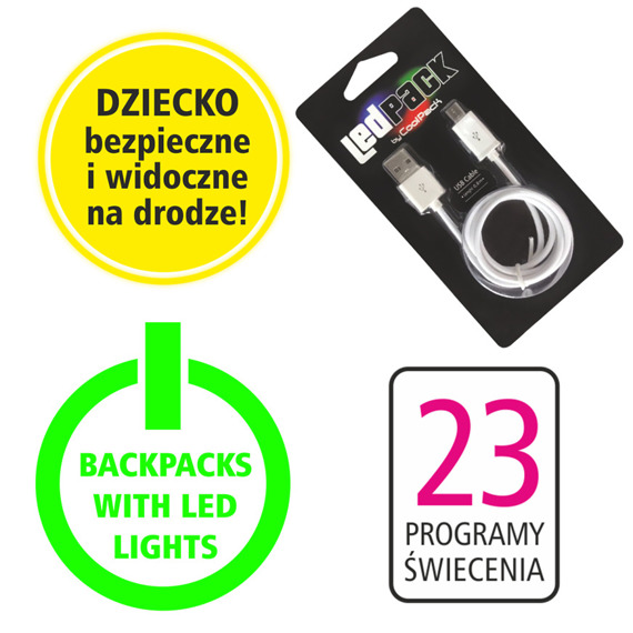 Plecak szkolny Coolpack Strike S LED Dinosaurs 94580CP A18204