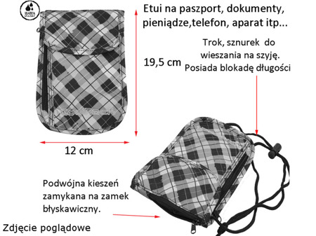 Portfel na szyję Coolpack Tourist Colour check 61056CP nr 529